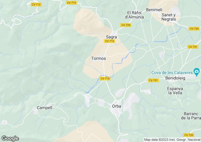 Map for Tormos, Alicante, Valencia