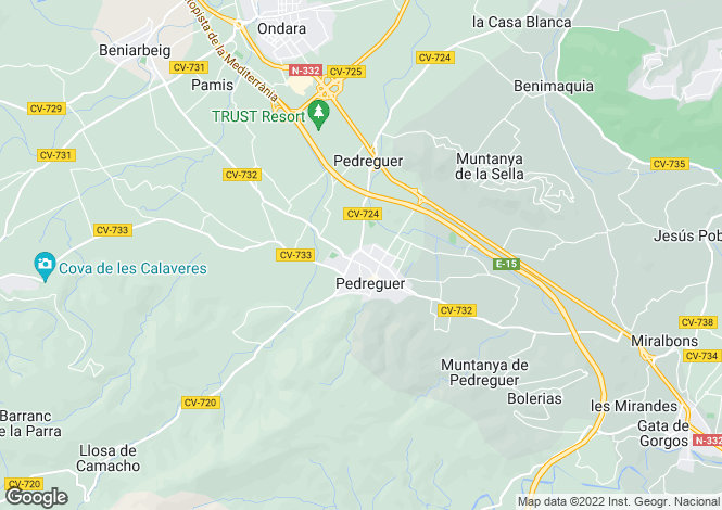 Map for Pedreguer, Alicante, Valencia
