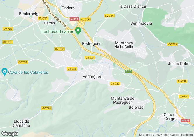 Map for Valencia, Alicante, Pedreguer