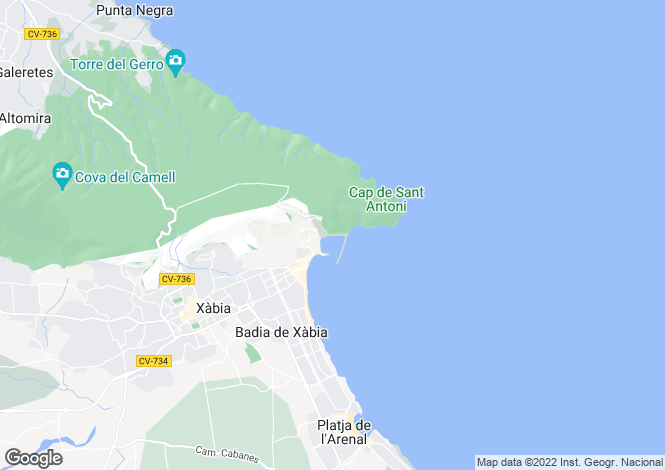 Map for Javea-Xabia