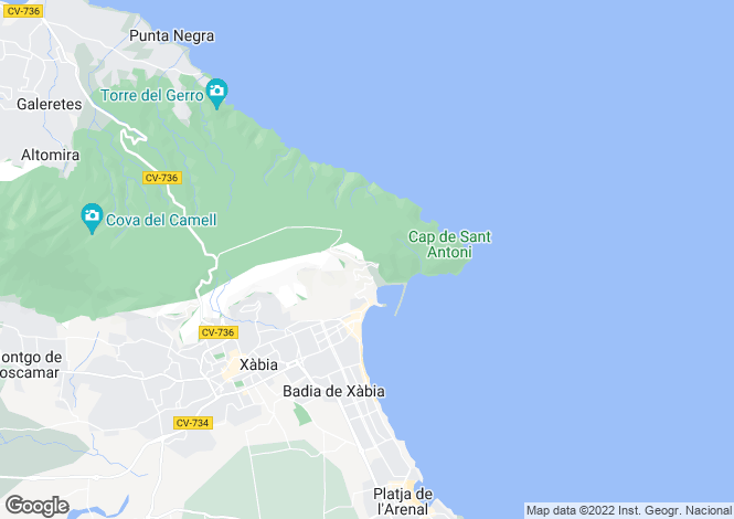 Map for Valencia, Alicante, Javea