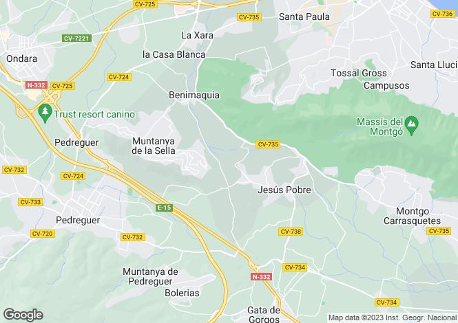 Map for Valencia, Alicante, Denia