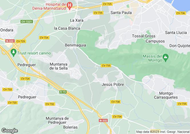 Map for Valencia, Alicante, Sella