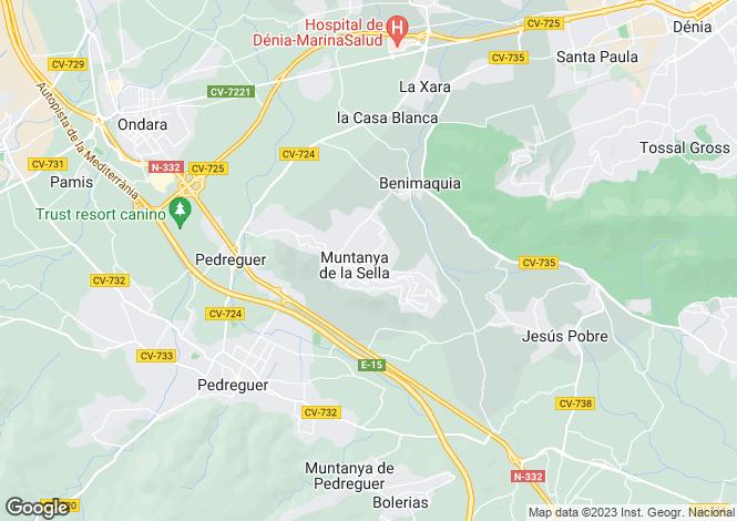 Map for Muntanya De La Sella, Alicante, Valencia