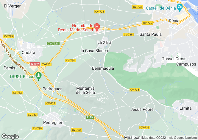 Map for Denia, Alicante, Valencia