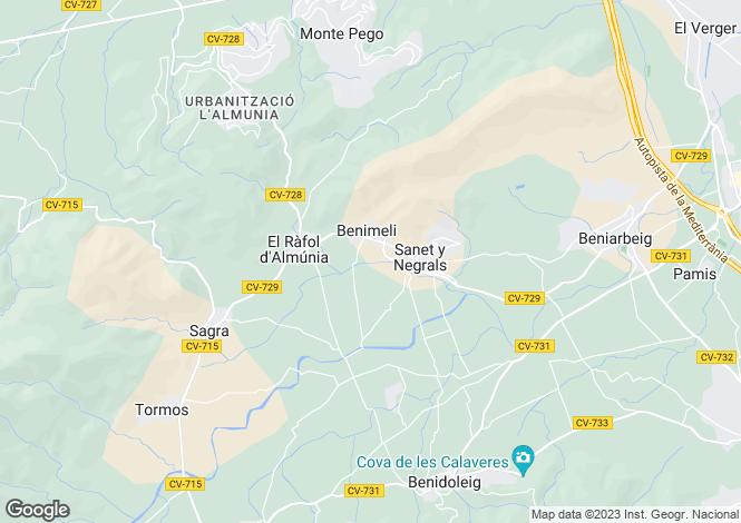 Map for Orba, Alicante, Valencia