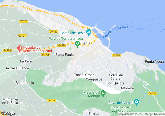 Map for Denia, Alicante, Valencia