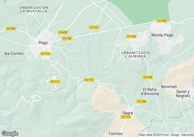 Map for Denia, Alicante, Spain
