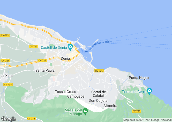 Map for Denia, Alicante