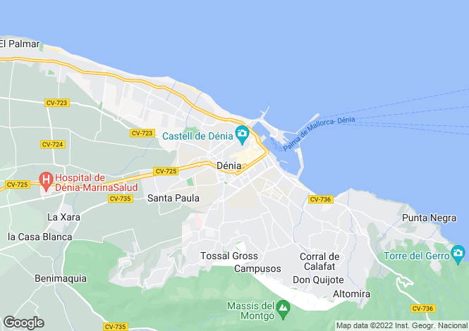 Map for Denia, Spain