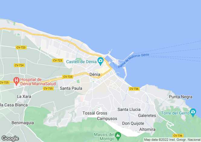 Map for Denia, Alicante, Spain