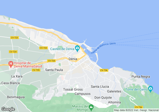Map for Denia, Valencia, 03730, Spain