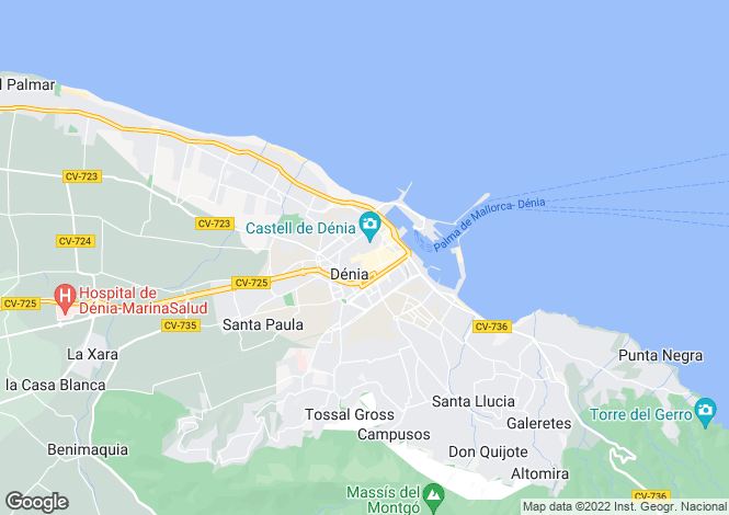Map for Valencia, Alicante, Denia