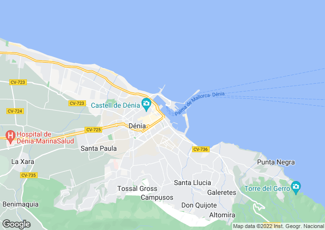 Map for Benitachell, Alicante, Spain