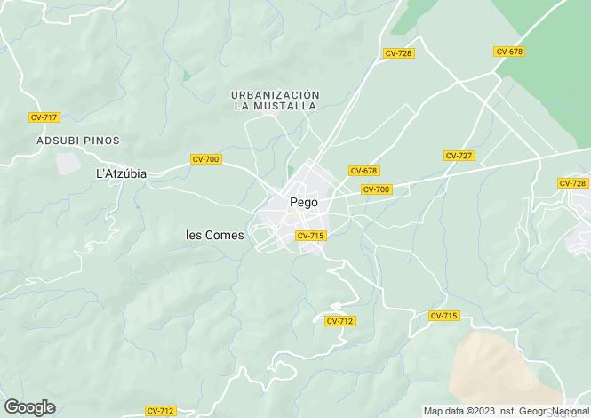 Map for Pego, Alicante, Valencia