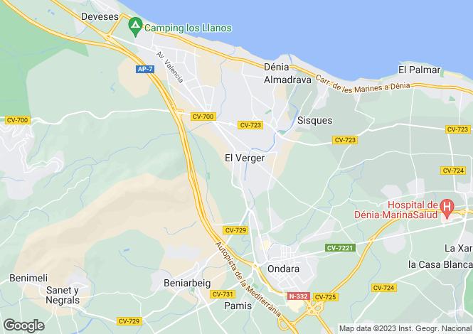 Map for Valencia, Alicante, El Verger