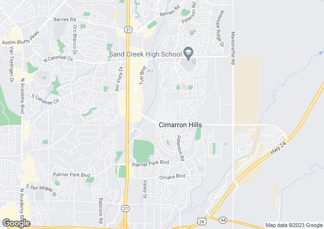 Map for USA - Colorado, El Paso County, Colorado Springs