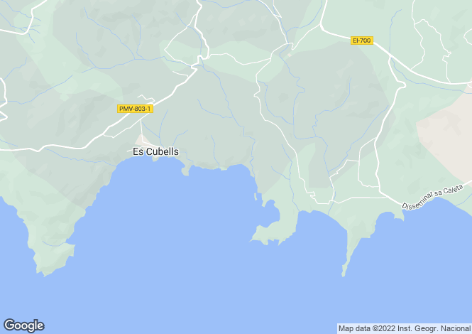Map for Es Cubells, Ibiza, Balearic Islands