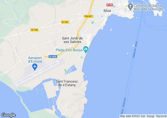 Map for Playa D'en Bossa, Ibiza, Balearic Islands
