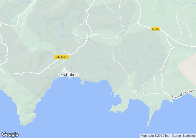 Map for Balearic Islands, Ibiza, Es Cubells