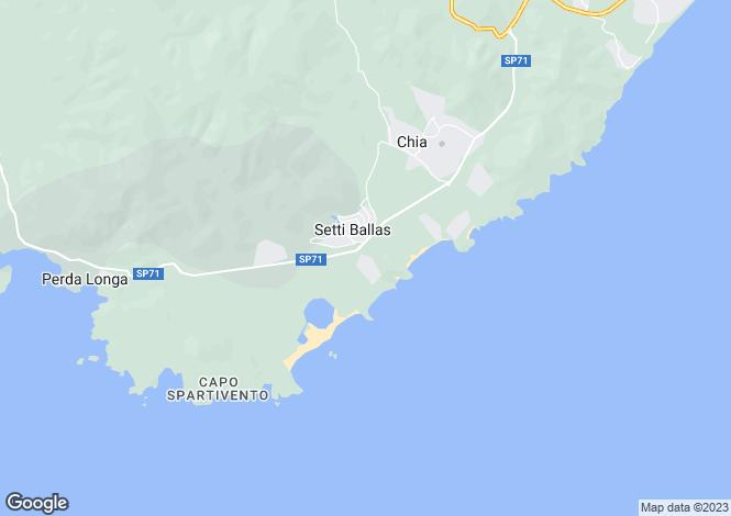 Map for Sardinia, Cagliari, Chia