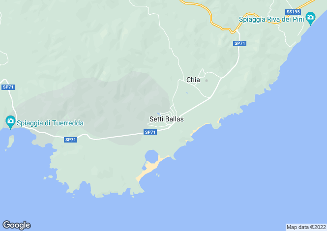 Map for Sardinia, Cagliari, Chia