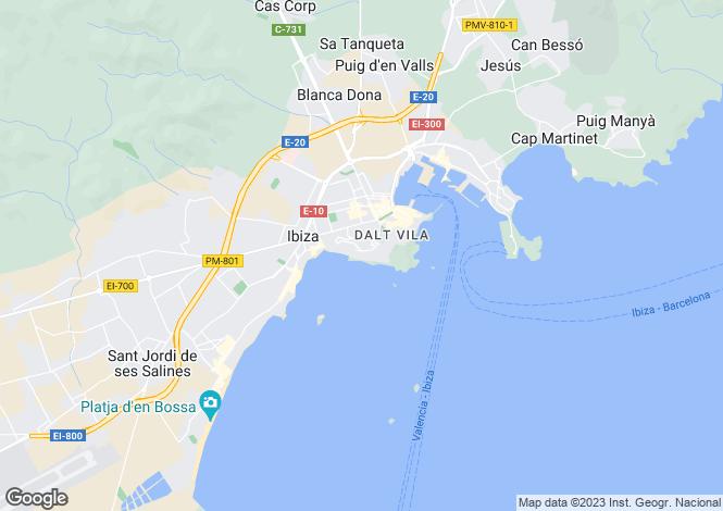 Map for Eivissa, Ibiza, Balearic Islands