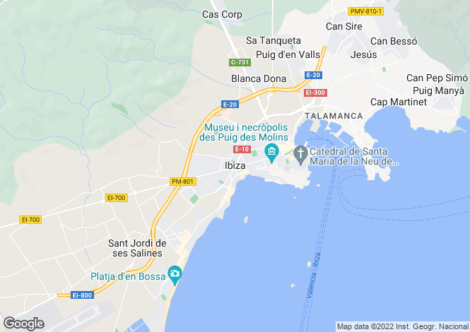 Map for Sea View Penthouse, Los Molinos, Ibiza