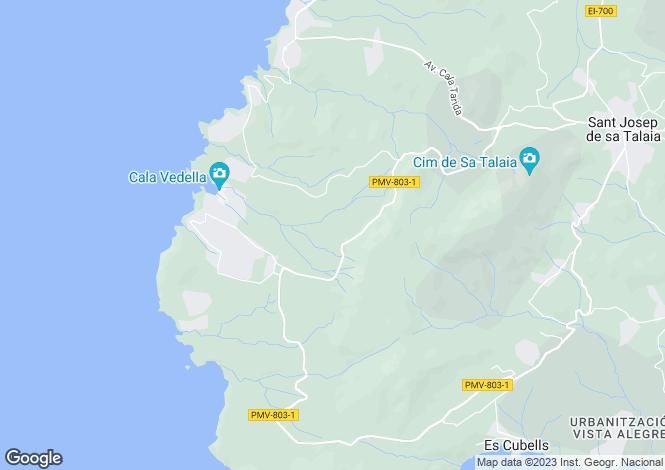 Map for Balearic Islands, Ibiza, Cala Vadella
