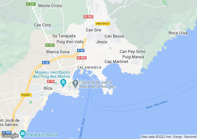 Map for Balearic Islands, Ibiza, Eivissa