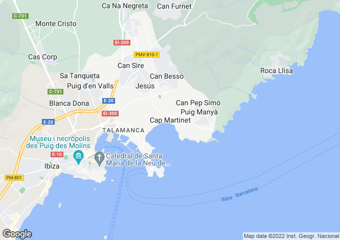 Map for Casa Gazebo, Cap Martinet, Ibiza, Balearic Islands