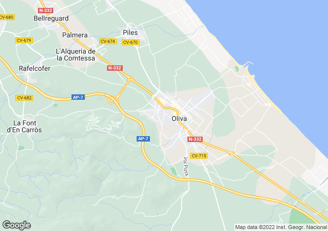 Map for Oliva, Valencia, 03724, Spain