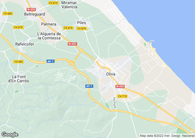 Map for Oliva, Valencia, Valencia