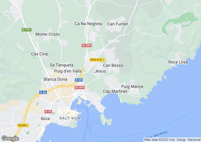 Map for Nuestra Señora de Jesús, Santa Eulària des Riu, Eivissa / Ibiza