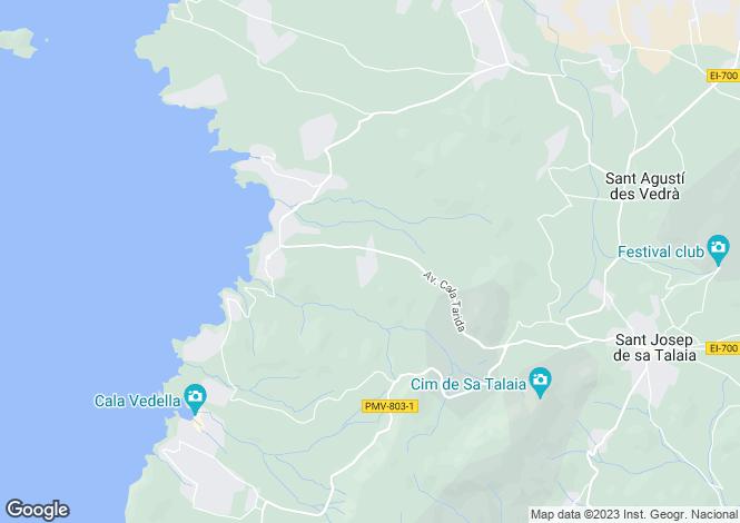 Map for Cala Tarida, San José, Ibiza