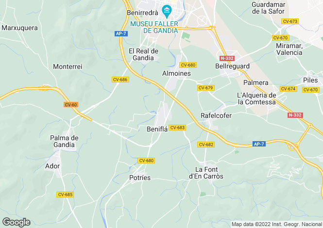 Map for Valencia, Valencia, Beniajo