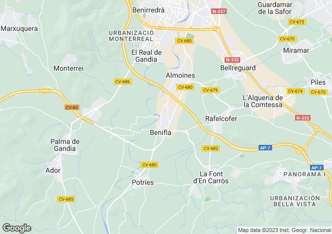 Map for Valencia, Valencia, Beniarjo