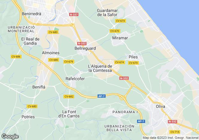 Map for Valencia, Valencia, Oliva
