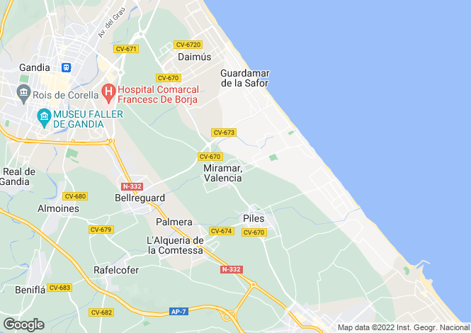 Map for Miramar, Valencia