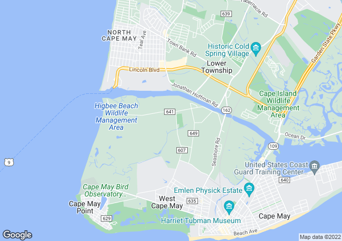 Map for New Jersey, Cape May County, Cape May