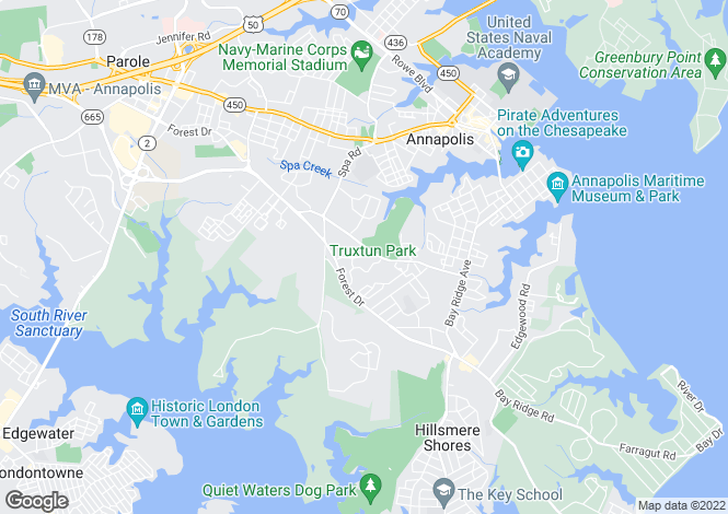 Map for USA - Maryland, Anne Arundel County, Annapolis