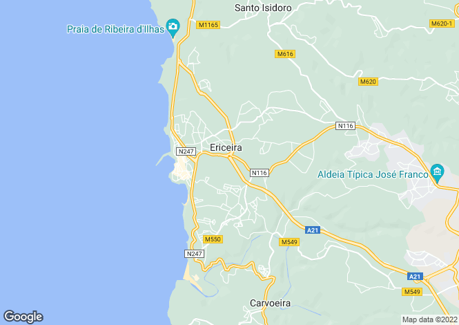 Map for Ericeira, Lisbon, Portugal