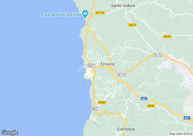 Map for Lisbon, Ericeira