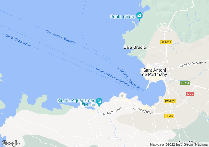 Map for San Antonio Bay, Ibiza, Balearic Islands