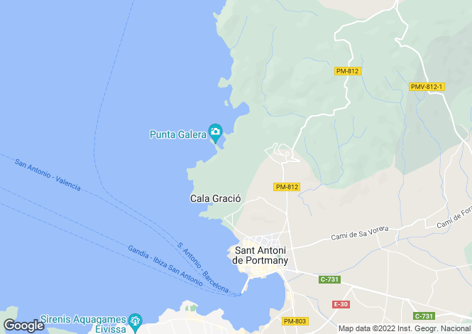 Map for San Antonio Bay, Ibiza, Balearic Islands