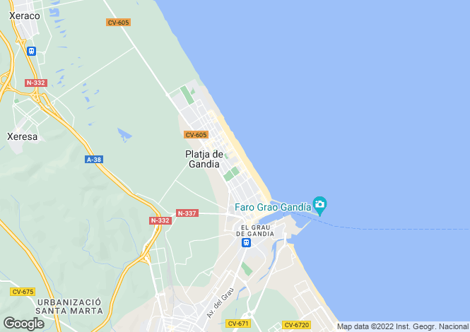 Map for Valencia, Alicante, Playa De Gandia