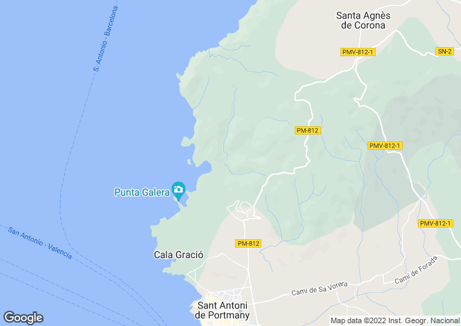 Map for Villa Es Figueral, Cala Salada, Ibiza, Spain