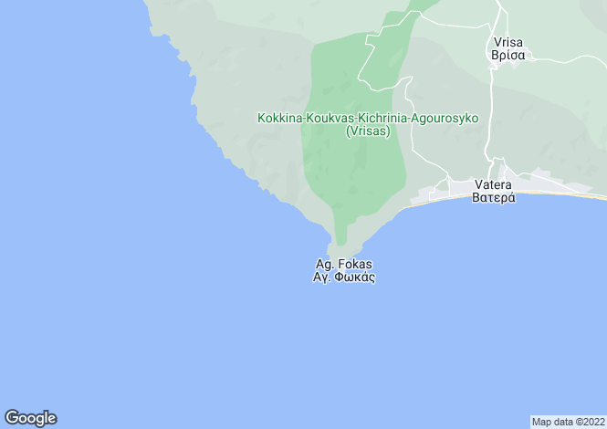 Map for Northern Aegean islands, Lesbos, Agios Focas