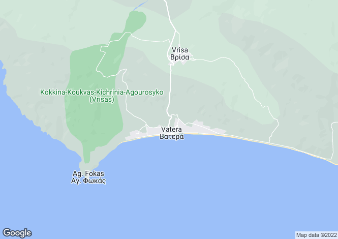Map for Northern Aegean islands, Lesbos, Vatera