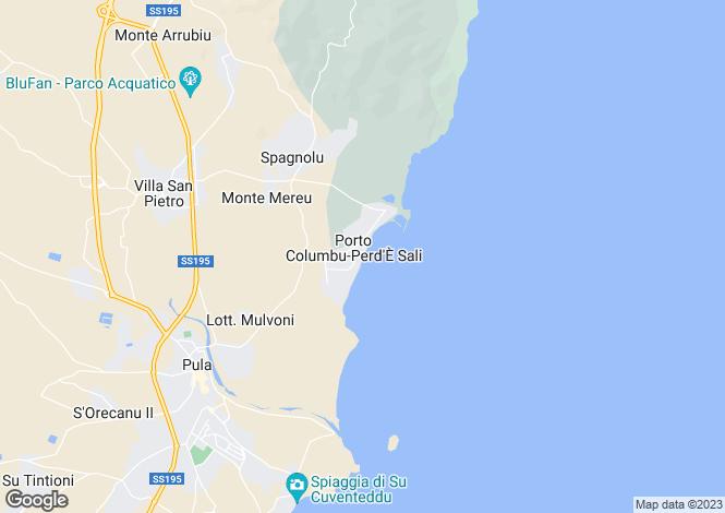 Map for Sardinia, Cagliari, Pula